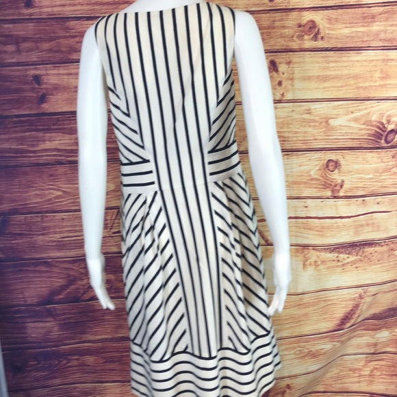 Maeve Blue and White Striped Dress with lace