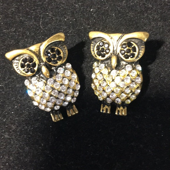 Owl Earrings-Brass and CZ