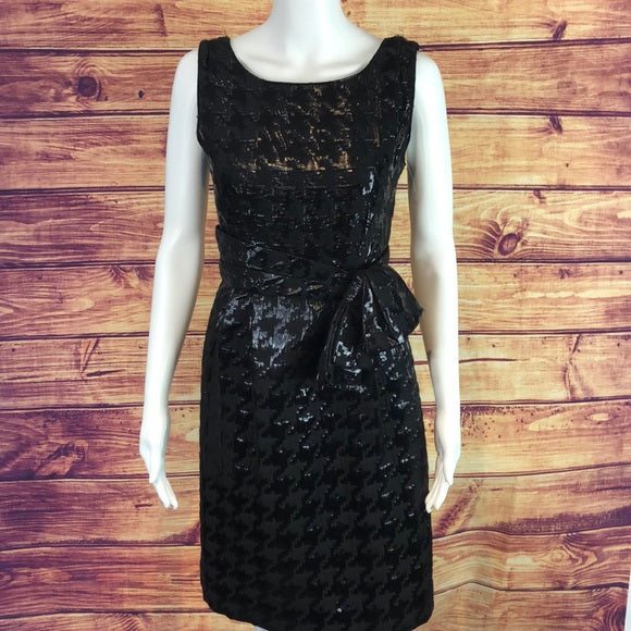 Kate Spade Black Houndstooth Print Cocktail Dress