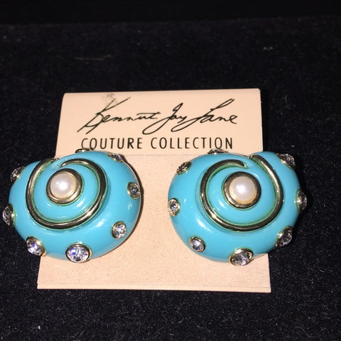 Kenneth Jay Lane Turquoise/Pearl Clips