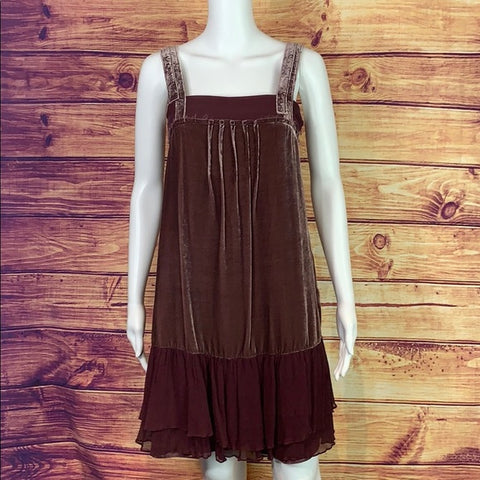 Anthropologie Brown Velvet w Chiffon Trim Dress