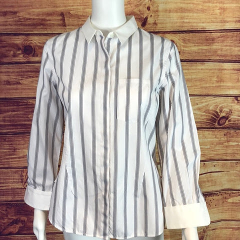 Theory White Black Striped Button