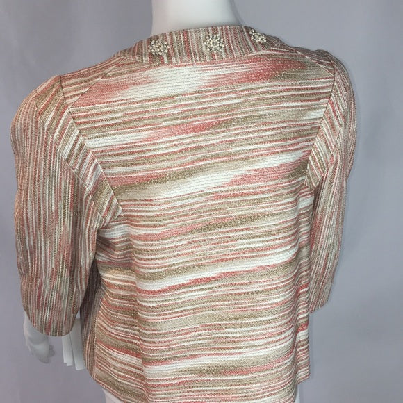 Magaschoni Tan/Peach Jacket with Beads