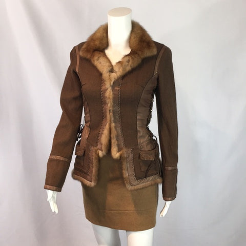 Roberto Cavalli Brown Jacket w/Leather/Fur Trim