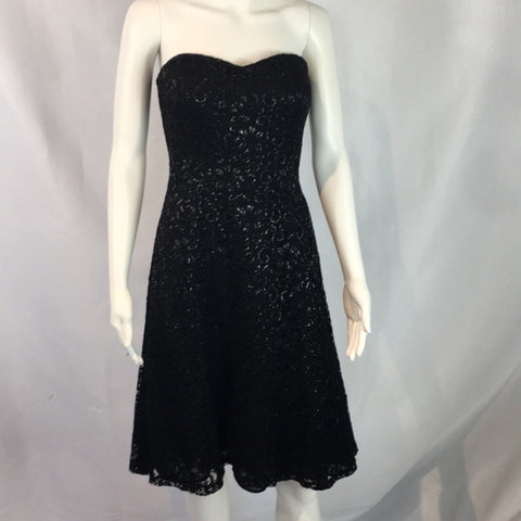 Ralph Lauren Black Lace Strapless Cocktail Dress