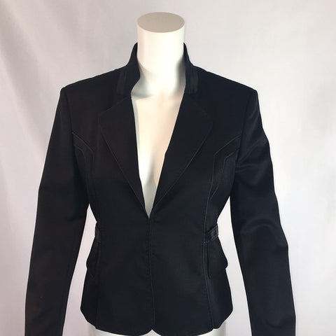 Strenesse Black Jacket Leather Trim