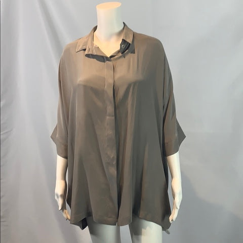 Planet Gray Oversized Silk Blouse