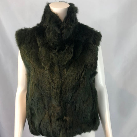 Adriene Landau Green Fur Zip