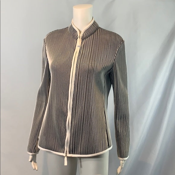 Black and White Striped Armani Zip Up