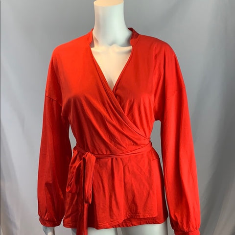 J. Crew Red Wrap Top