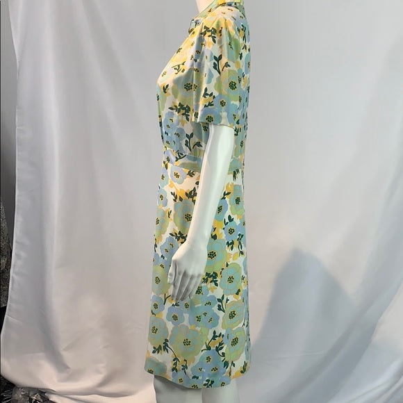 Sandro Aqua Ruffle Neck Floral Silk Dress