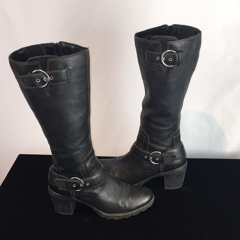 Born boc Black Pebbled Leather Riding Boots