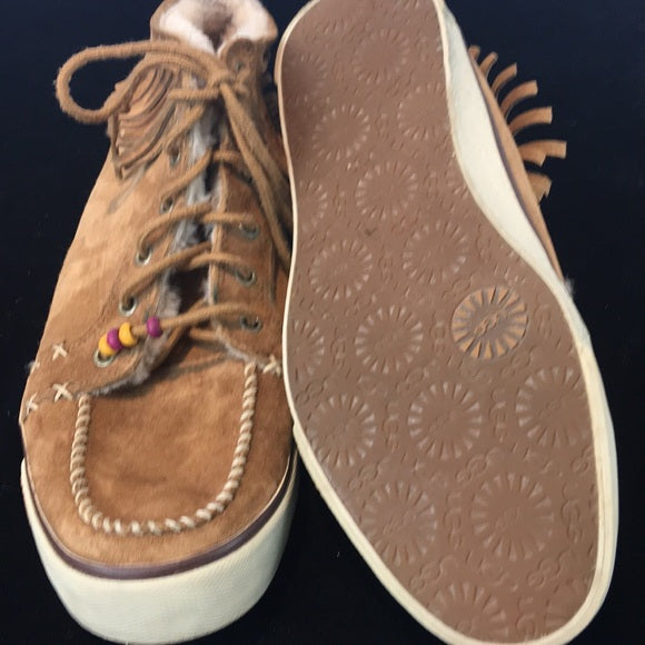 Ugg RARE tan fringe suede sneakers