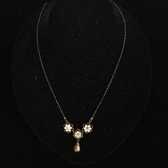 Michal Negrin Pink/Green Flower Necklace with Drop