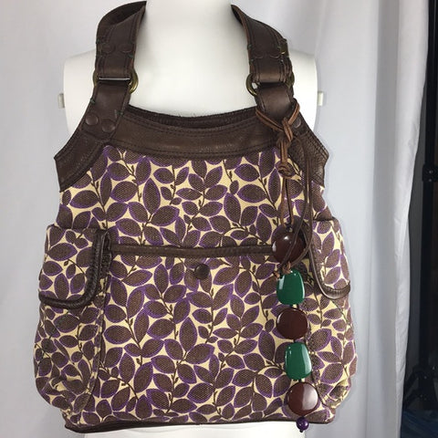 Lucky Brand Purple/Brown Leaf Print Canvas Bag