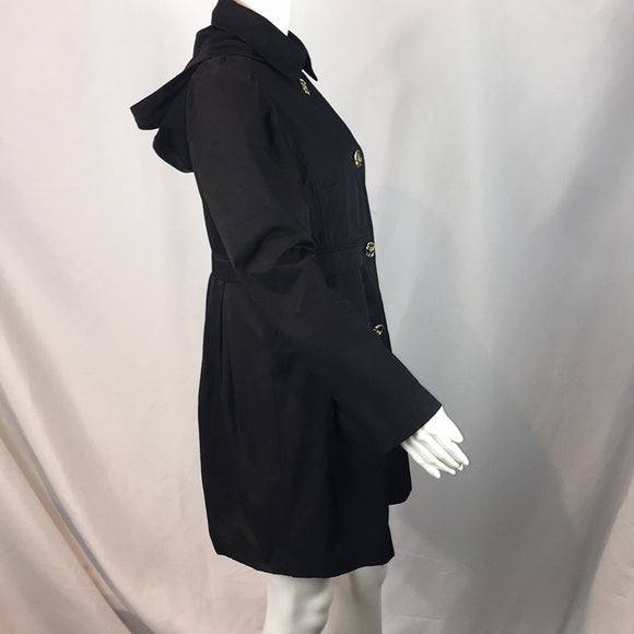 Betsey Johnson Black Raincoat w/ Flower Buttons