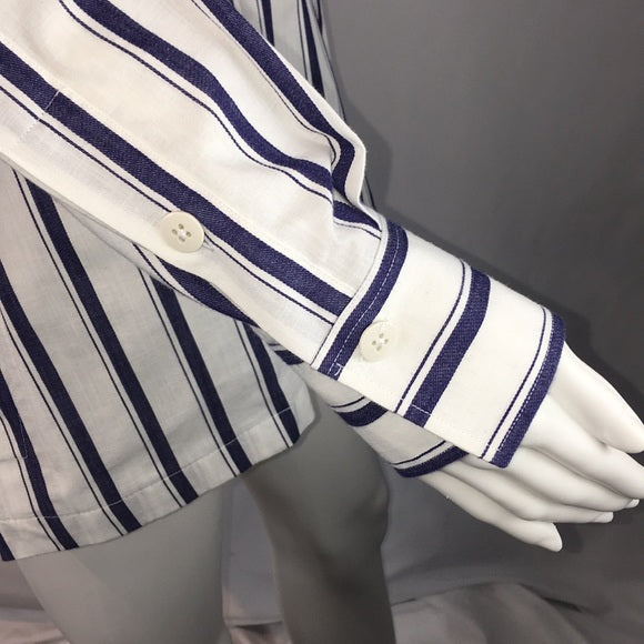 Bagutta Blue/White Striped Blouse w/Pockets