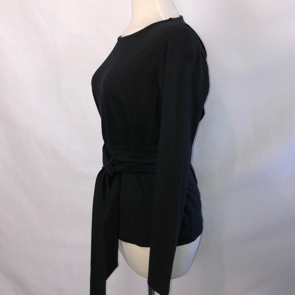 NEW J. Crew Black Long Sleeve Tie Waist Top