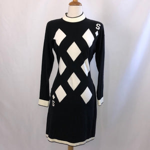 Sonia Rykiel Black &White Playing Card Knit Dress