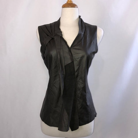 Elie Tahari Brown Leather Sleeveless Top