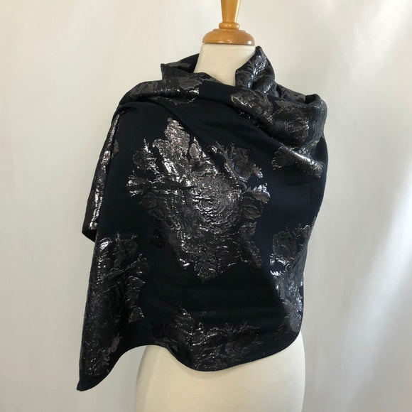 NWT ST. JOHN Black and Silver Floral Wrap