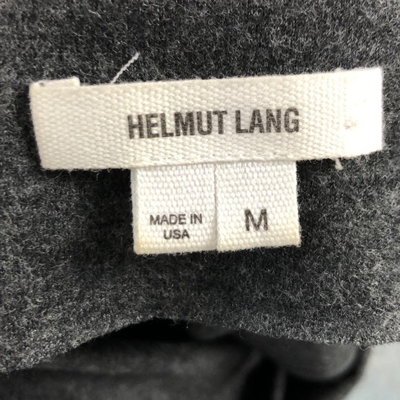 Helmut Lang Grey Wool Cowl Neck Ruched Dress