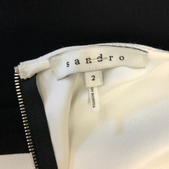 Sandro Black & White Belted Color Block Dress