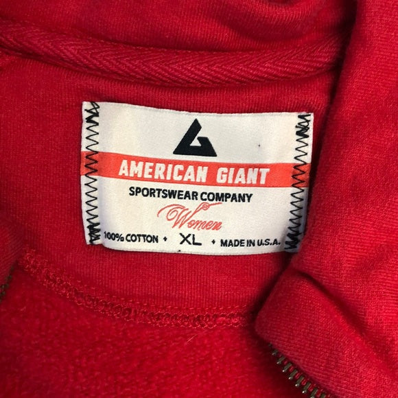 American Giant Red Zip Up