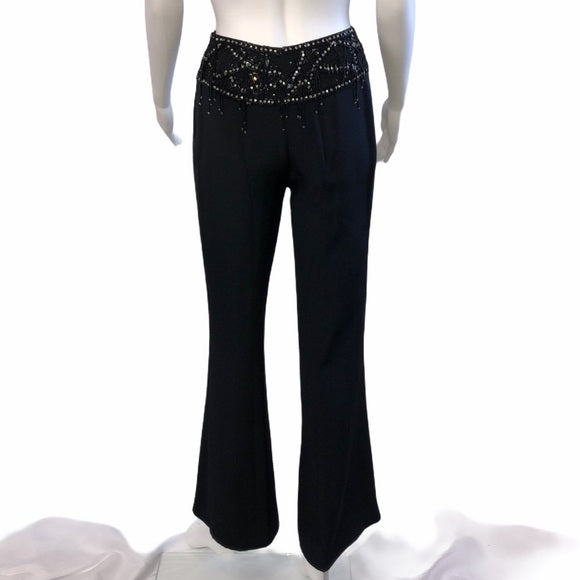 Escada Black Pant suit with bead embellishments