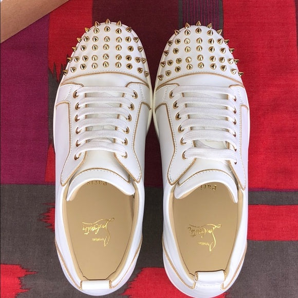 Christian Louboutin White Gold Spike Toe sneakers