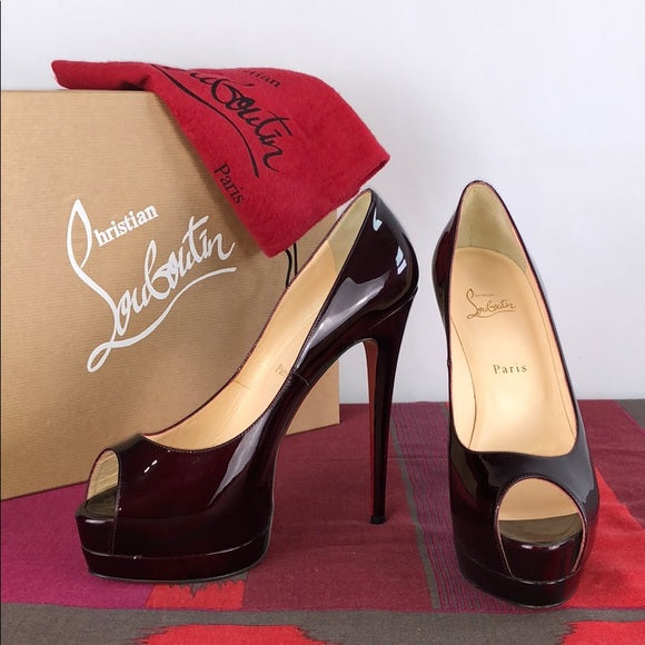 Christian Louboutin Oxblood Color Patent Peep Toe