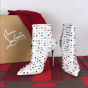 Christian Louboutin White Boot w Colorful Spikes