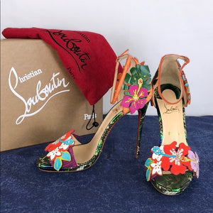 Christian Louboutin Tropical Flower Snakeskin Heel