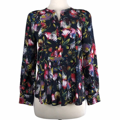 J. Crew Blue Floral Silk Blouse