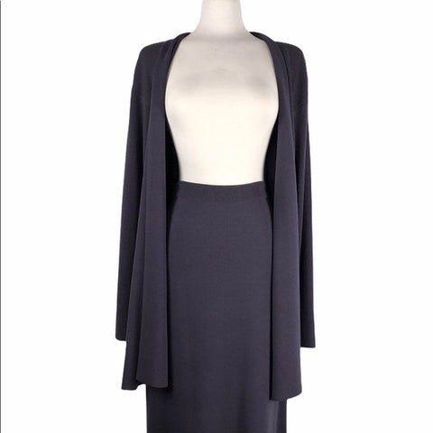 Eileen Fisher Purple Cardigan and Skirt Set