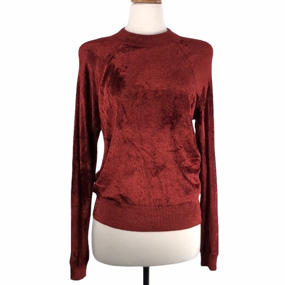 Elizabeth And James Crush Dark Rust Velvet Top