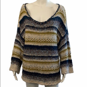 Free People Tan Crew Striped Oversize