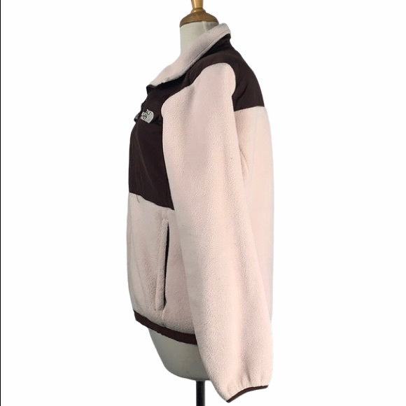 North Face Pink Fleece With Brown Trim