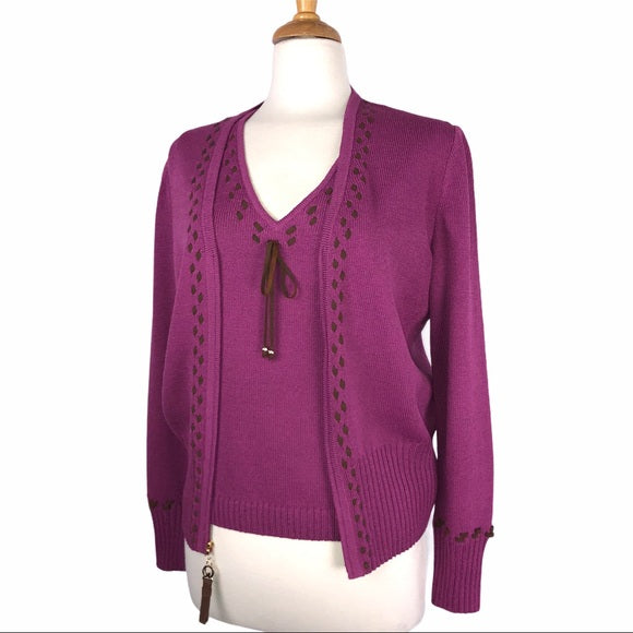 St. John Magenta Suede Lace Cardigan Shell Set