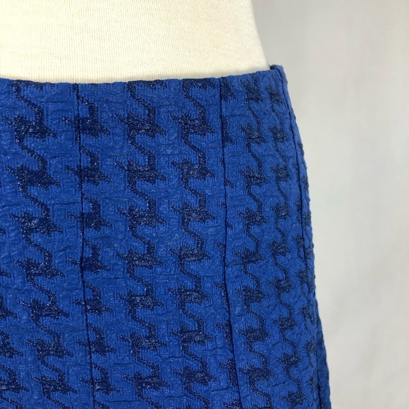 Marni Blue A-line Textured Houndstooth Print Skirt
