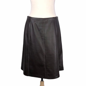 St. John Brown Leather Skirt with White stitching