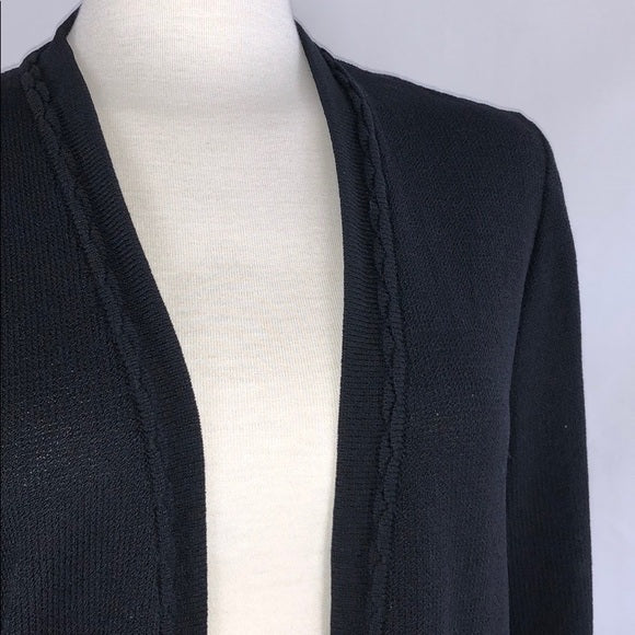 St. John Black Long Knit Open Cardigan