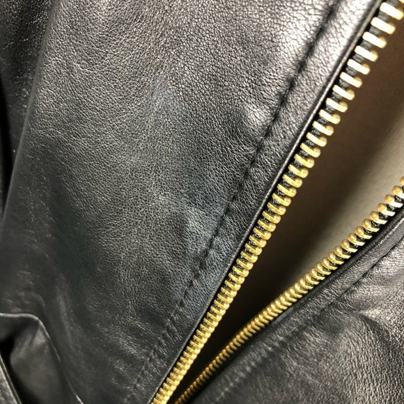 St. John Leather Jacket with Gold Zippers/Buttons