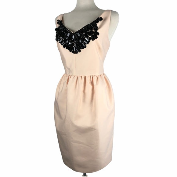 Kate Spade Pink Peach Dress with Black Beaded Neck