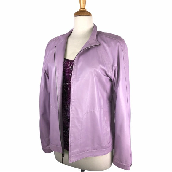 St. John Lilac Purple Leather Jacket & Top Set