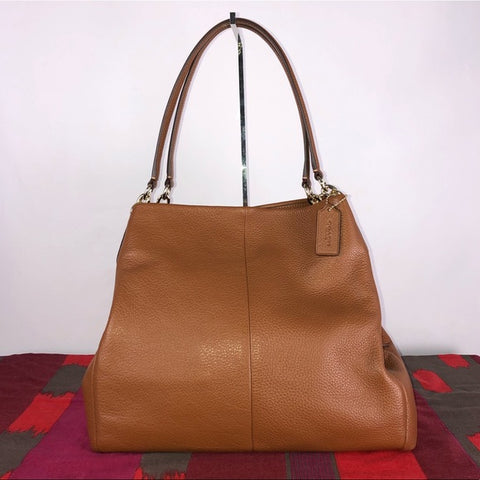 Coach Tan Pebbled Leather Phoebe Bag