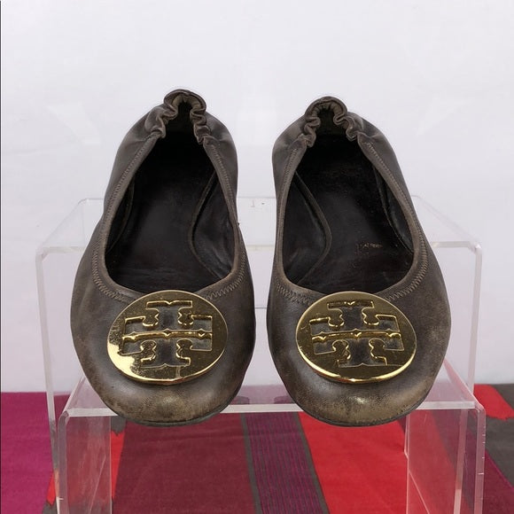 Tory Burch Brown Leather Reva Flats Gold Buckle