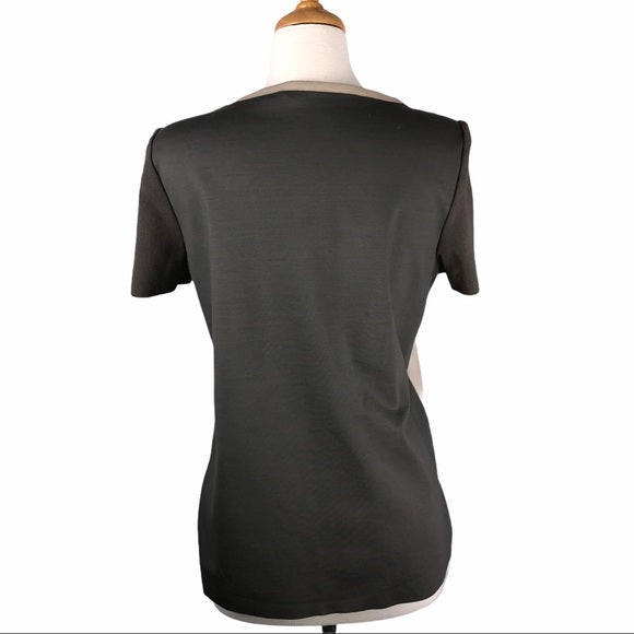 Elie Tahari Tan Pierced Leather Front Top
