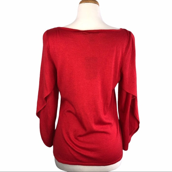 Ralph Lauren Red Cashmere Sweater w Bell Sleeve