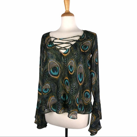 Show Me Your MuMu Sheer Peacock Blouse